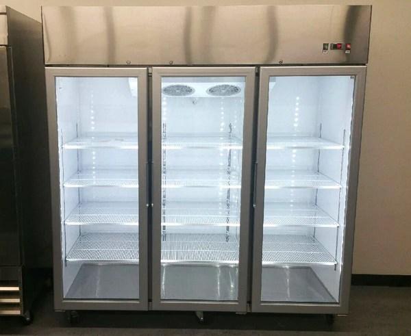 3 Door Commercial Reach In Glass Merchandiser Refrigerator  MCF8606  San Diego Factory Direct