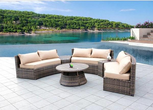 Sunbrella Curved Wicker Rattan Patio Furniture Set With