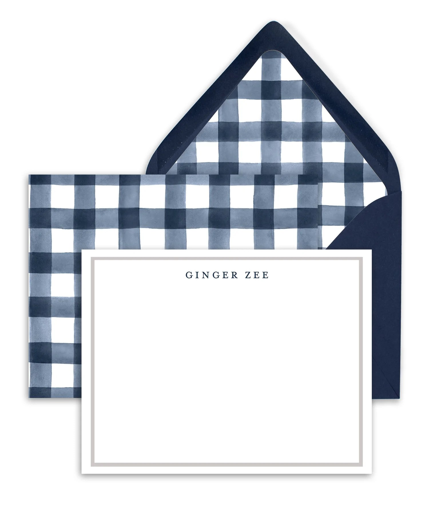 navy gingham personalized stationery