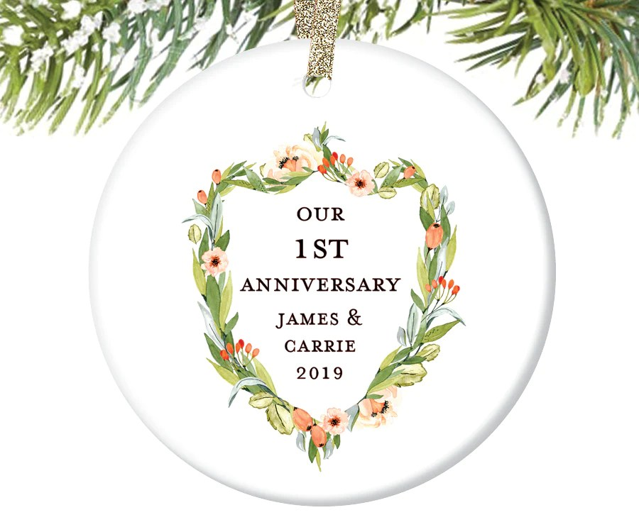 anniversary christmas ornament personalized
