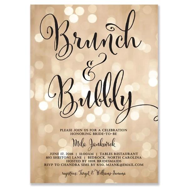 Brunch Bubbly Invitations Bridal Shower Invitations