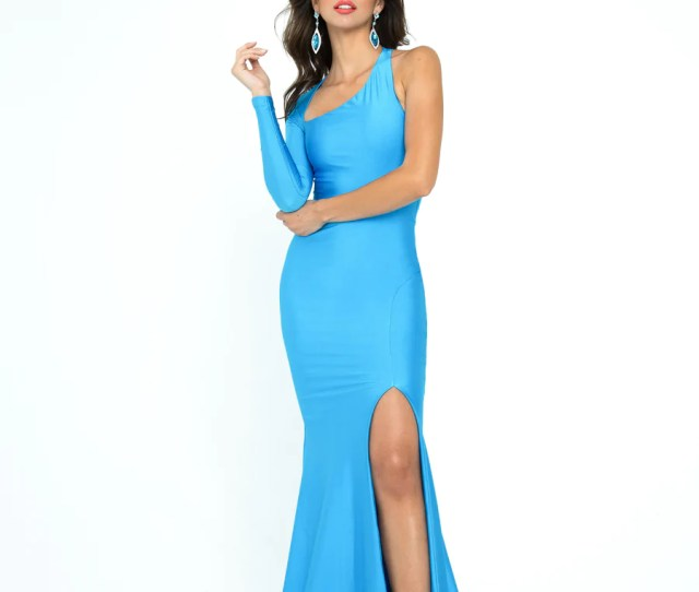 Atria H Blue Long Sleeve Prom And Pageant Dress