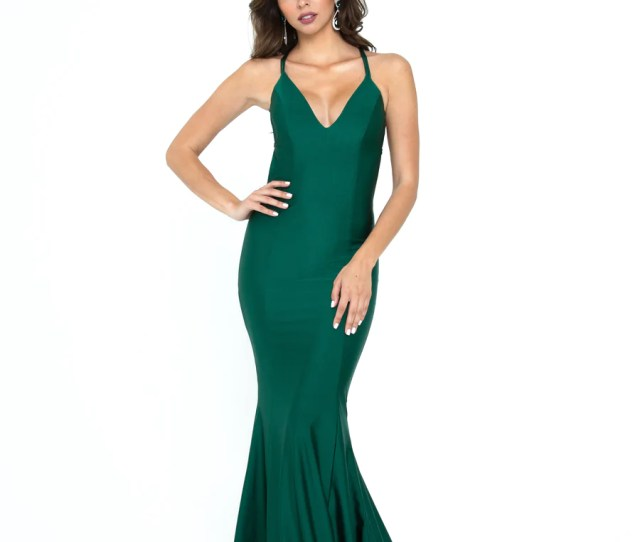 Atria  Emerald Green Low Back Fitted Prom Dress
