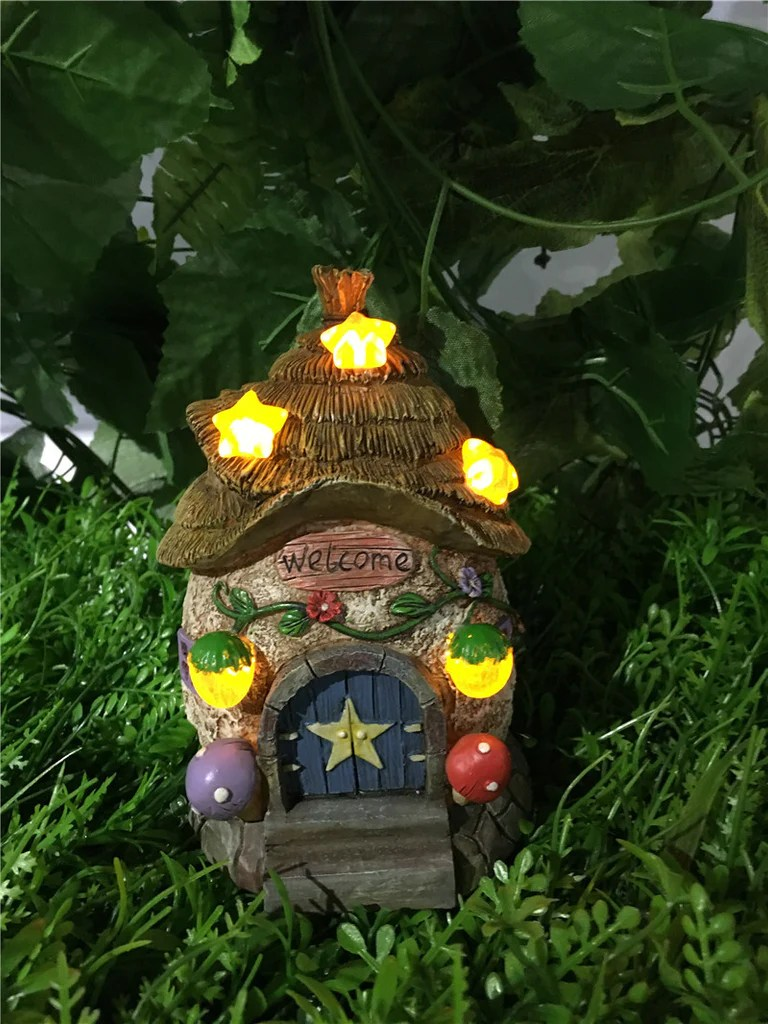 Buy Fairy Garden House WThatched RoofStar Solar Lights For Sale Online In USA Amp Canada