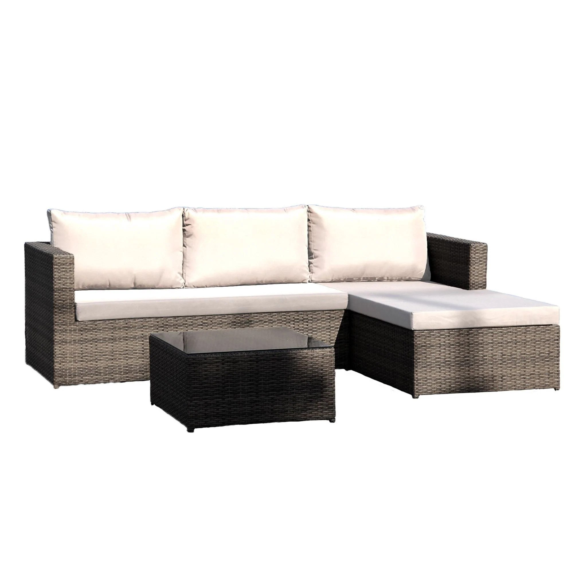 Rattan 3 Piece Sofa Hospitality Rattan Sapphire 3 Pc Sofa Sectional Set Grey 1473 Gry 3pc Set
