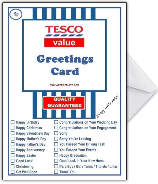 Supermarket Spoof Card TESCO SUPER VALUE For ANY