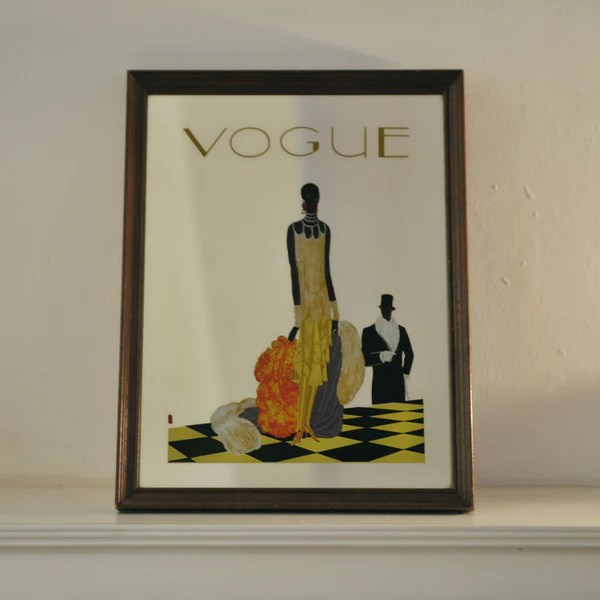 Old French Vogue Magazine Framed Mirror Printed with Design  Oates  Co