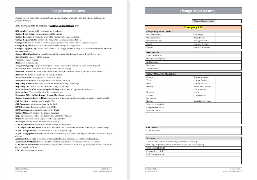 [this document is a template of a change management plan document for a project. Change Request Form Itil Docs Itil Templates And Training Courses