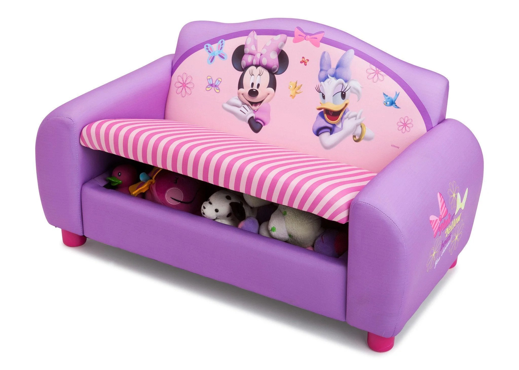 minnie mouse upholstered chair evenflo easy fold high disney sofa with storage delta children