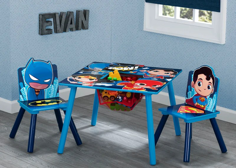 batman childrens table and chairs wooden potty chair kids sets delta children super friends superman wonder woman the flash set
