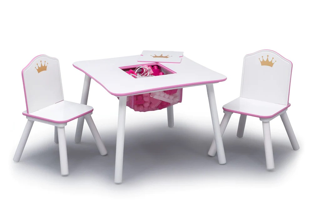 pink kids chair recaning a princess crown set and table white delta children love girl 1187 silo view