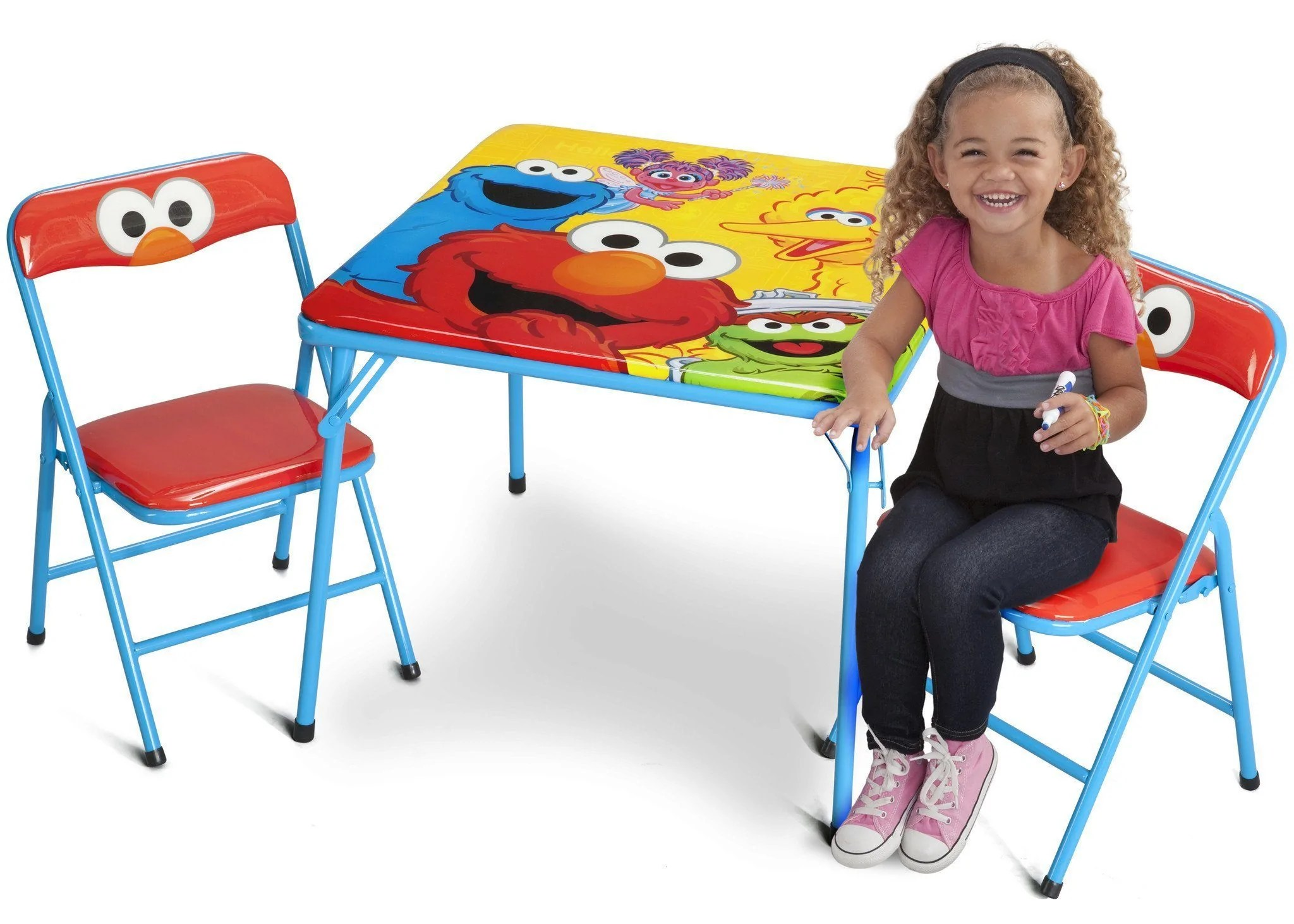 sesame street table and chairs rocking reclining chair metal folding set delta children