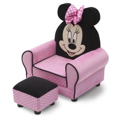 Minnie Mouse Upholstered Chair Skull Adirondack Plans With Ottoman Delta Children