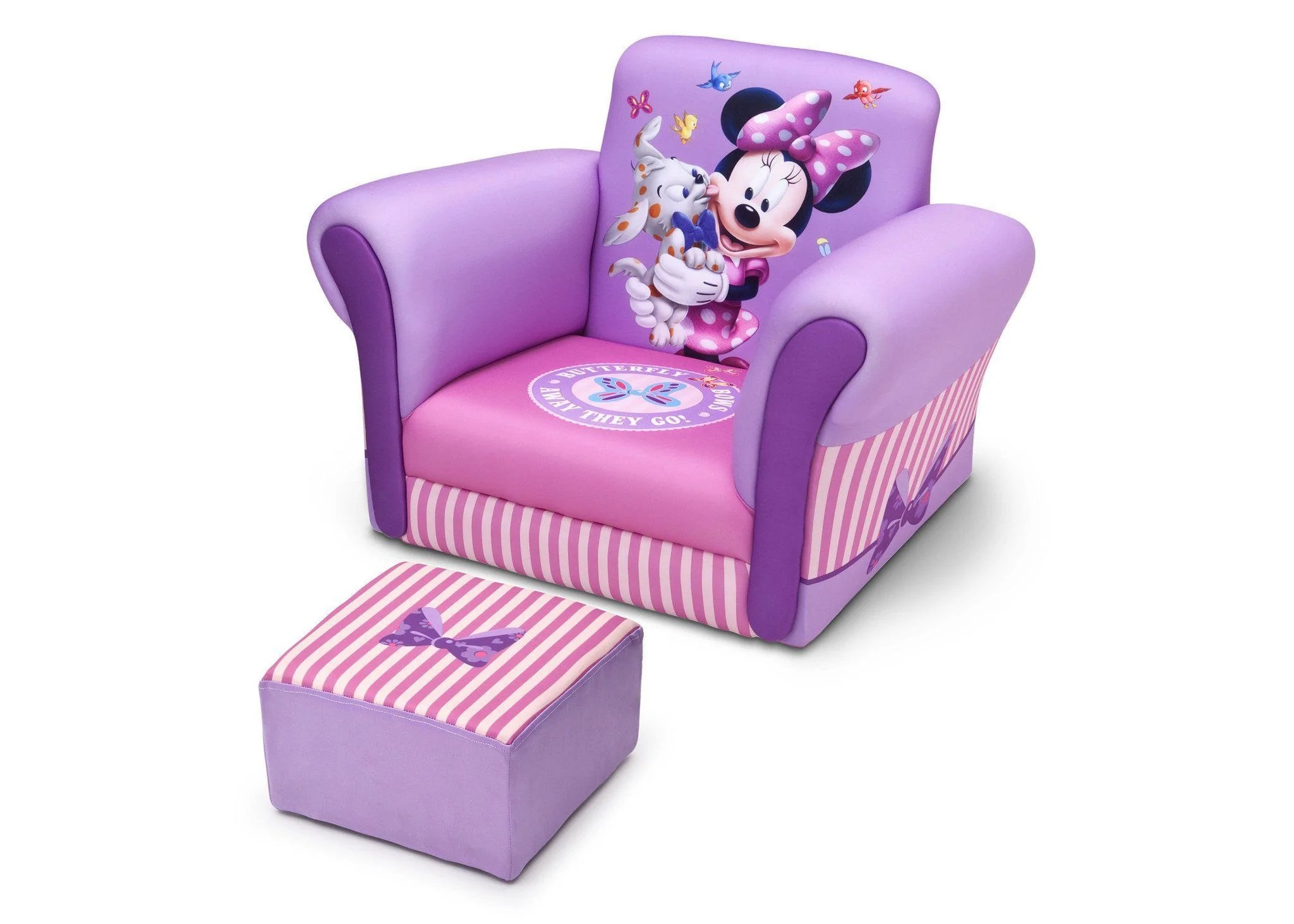 kids chair with ottoman zero gravity big lots minnie mouse upholstered delta children