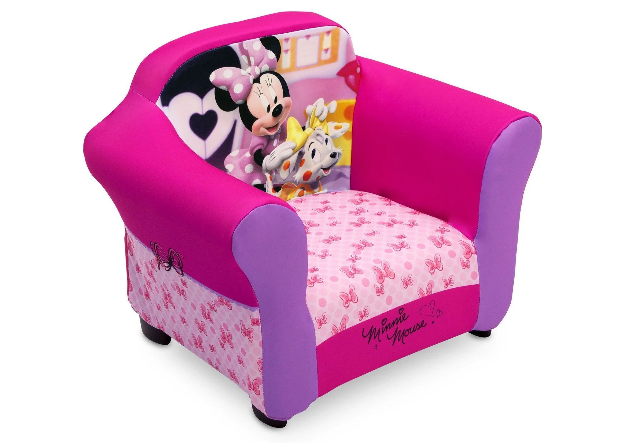 minnie mouse upholstered chair beach walmart disney with sculpted