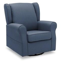 Blue Glider Chair French Cafe Reston Nursery Swivel Rocker Delta Children