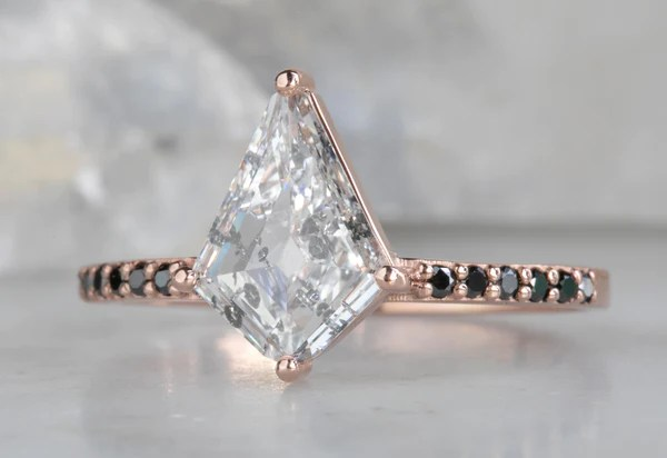 One Of A Kind Kite Shaped Diamond Engagement Ring With Pav 233 Band Alexis Russell