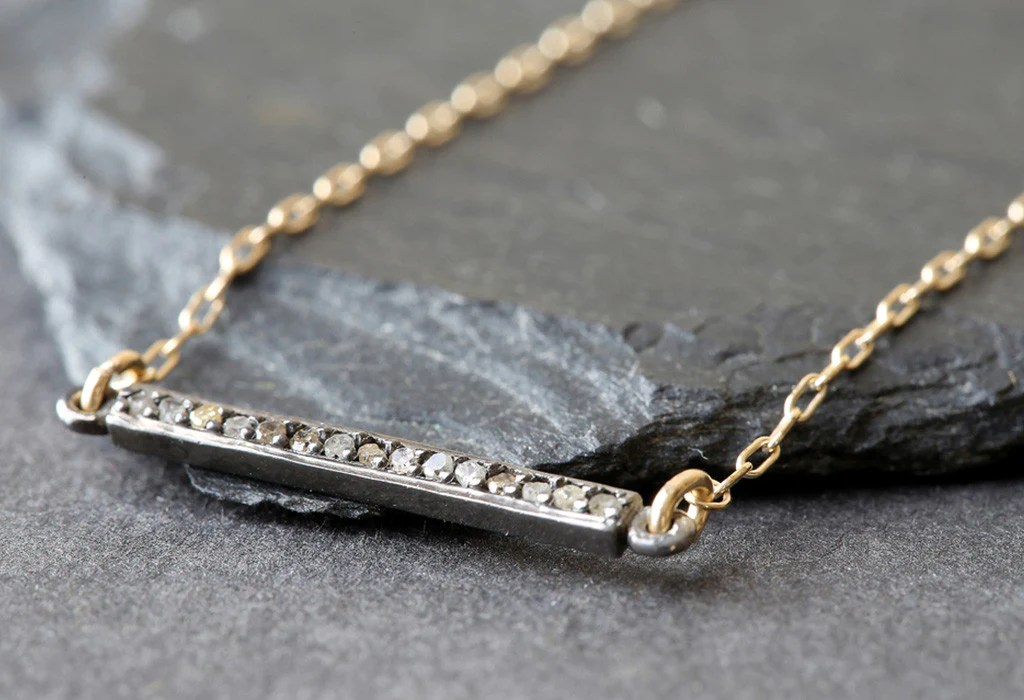 Pave Diamond Bar Necklace Small Alexis Russell