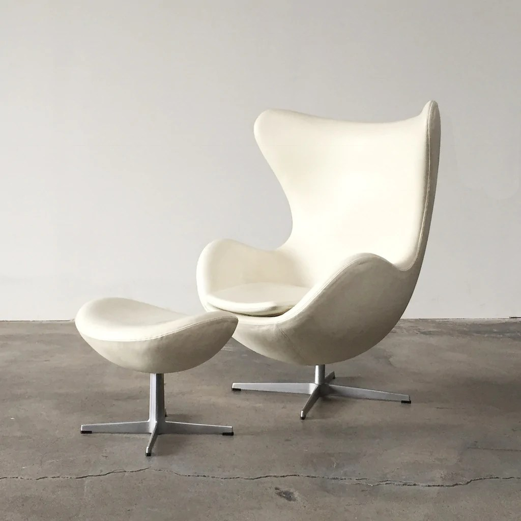 White Leather Egg Chair Fritz Hansen White Leather Egg Chair And Ottoman Los