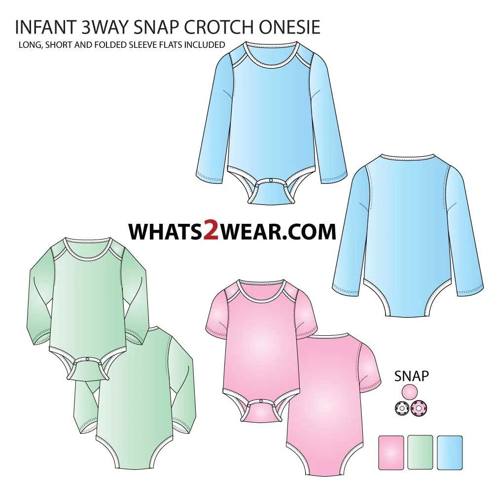infant toddler 3 way snap crotch onesie fashion flat template [ 1000 x 1000 Pixel ]