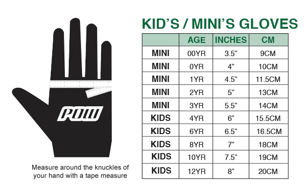 Click image to enlarge also size chart pow gloves rh powgloves