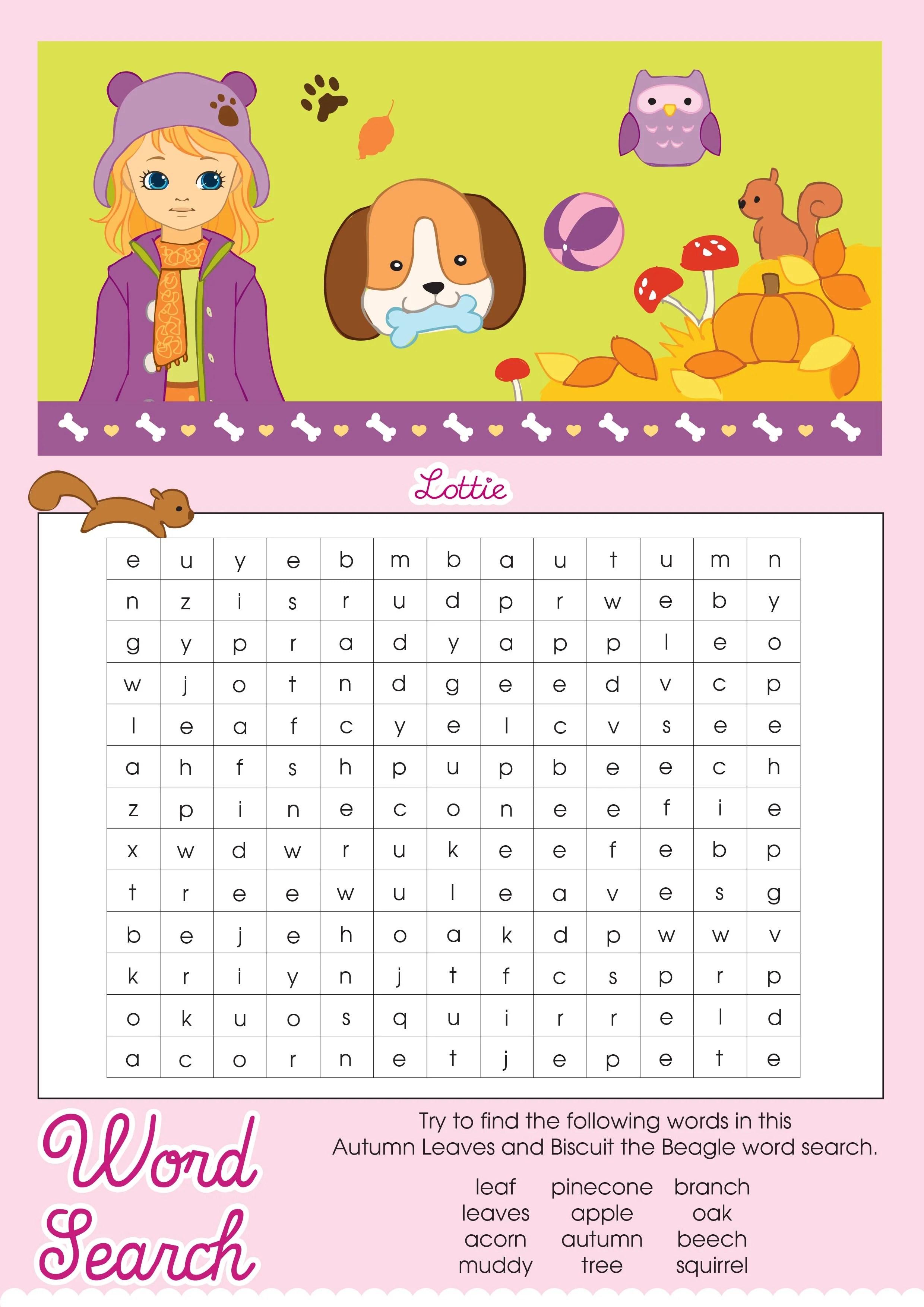 Autumn Leaves Lottie Printable Word Search Lottie Dolls
