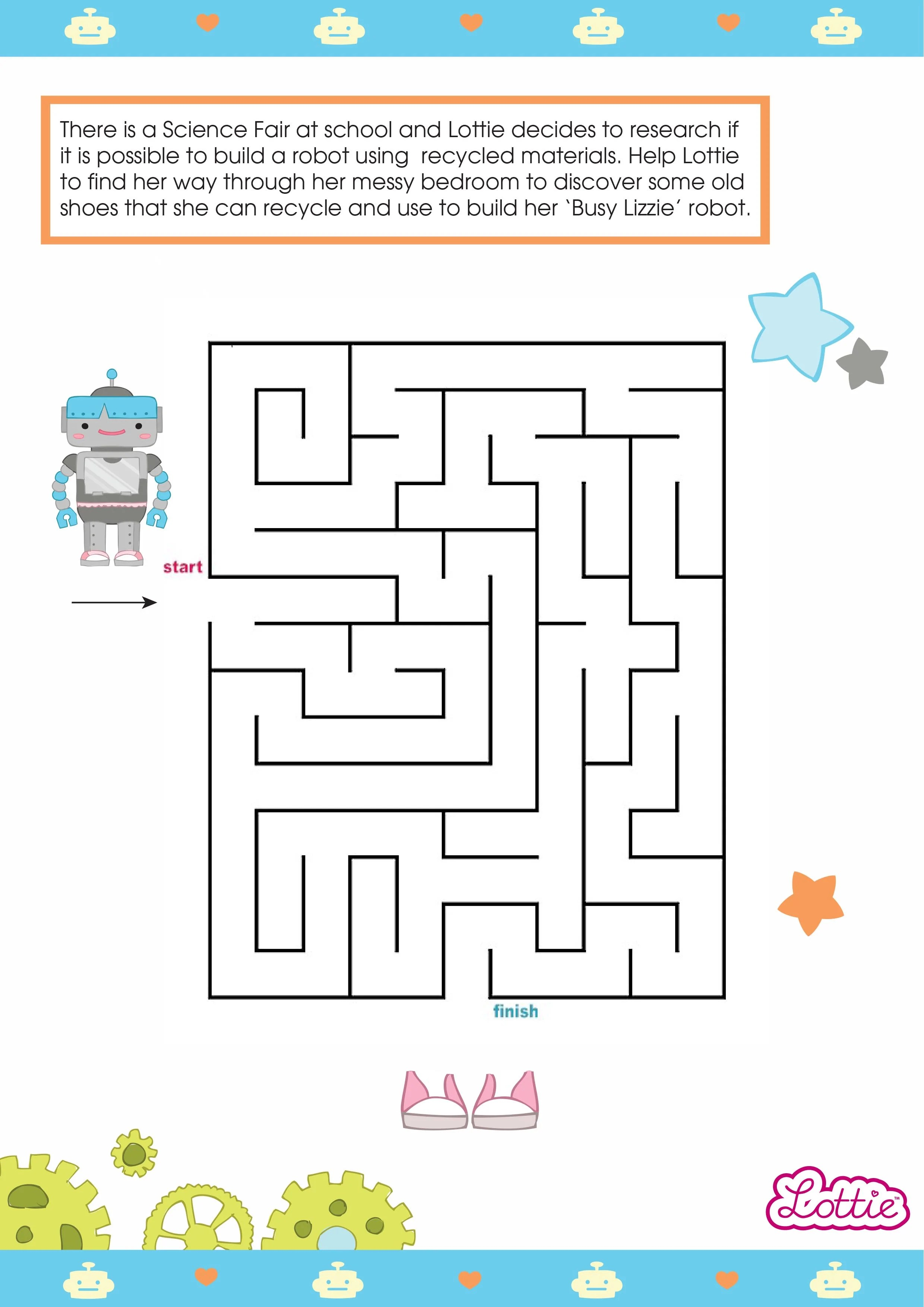 Robot Girl Lottie And Busy Lizzie The Robot Printable Maze