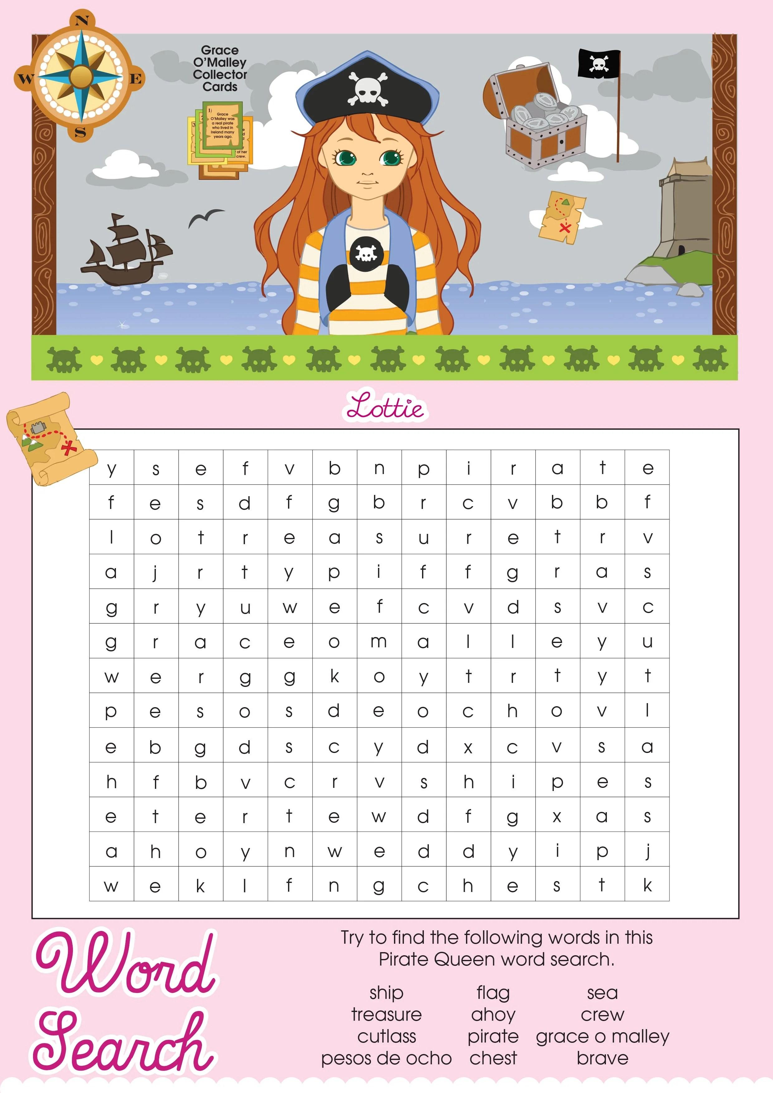 Pirate Queen Lottie Printable Word Search Lottie Dolls