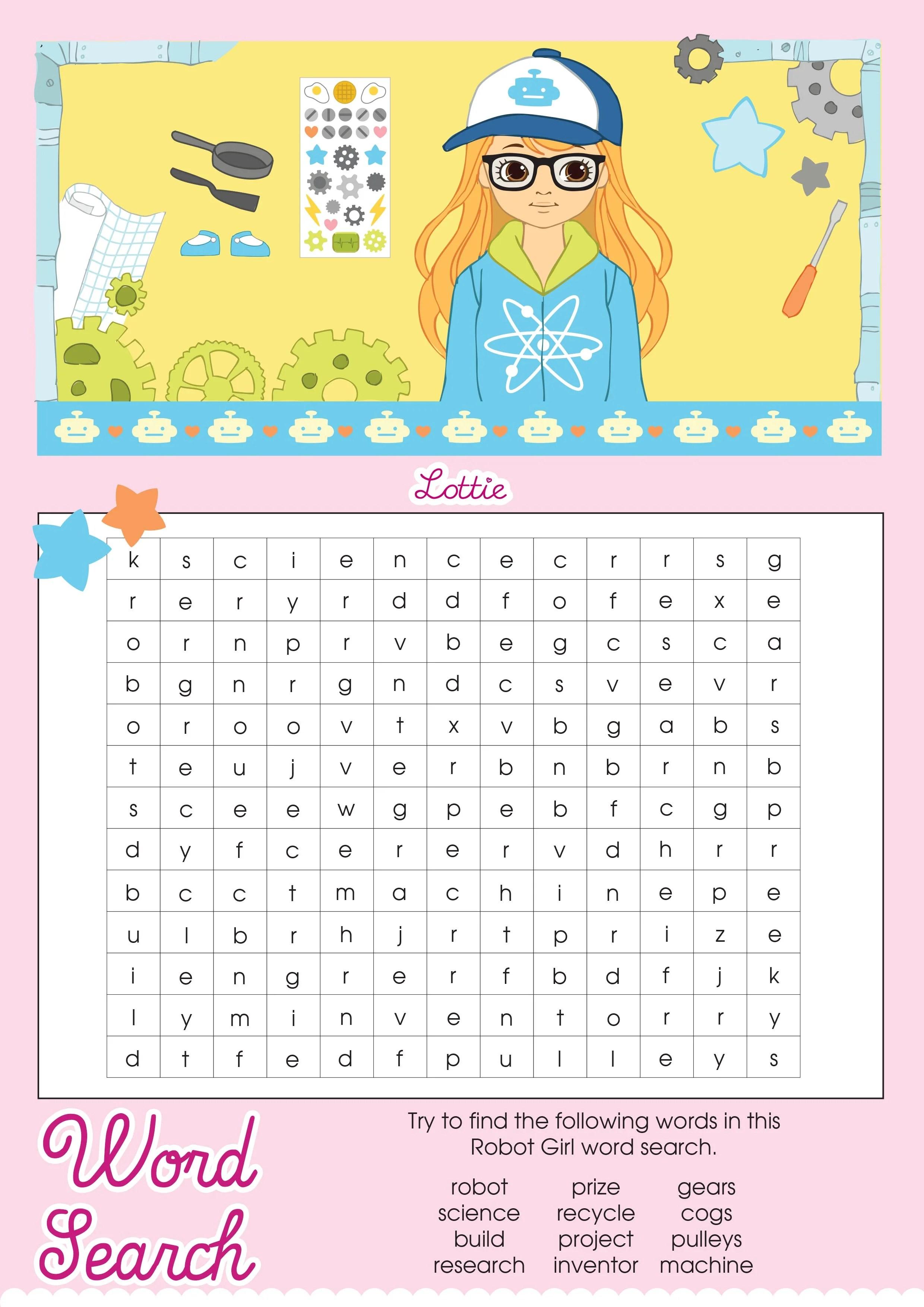 Robot Girl Lottie Printable Word Search Lottie Dolls