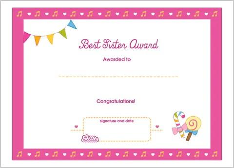 Best Sister Printable Award Certificate Lottie Dolls