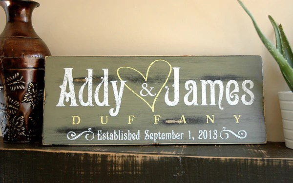 Rustic Wooden Established Plaque Personalized Last Name