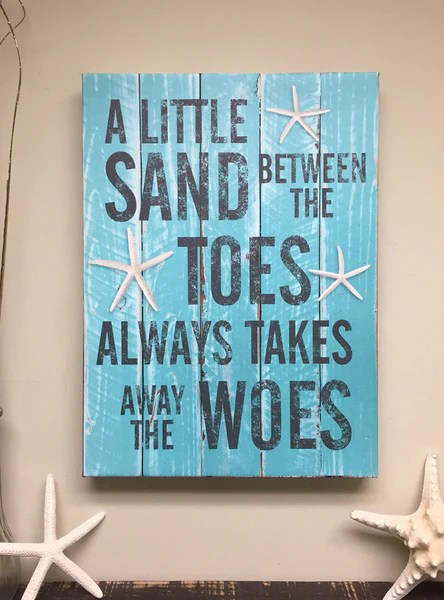 Beach Decor Quote On Canvas Art A Little Sand Between The