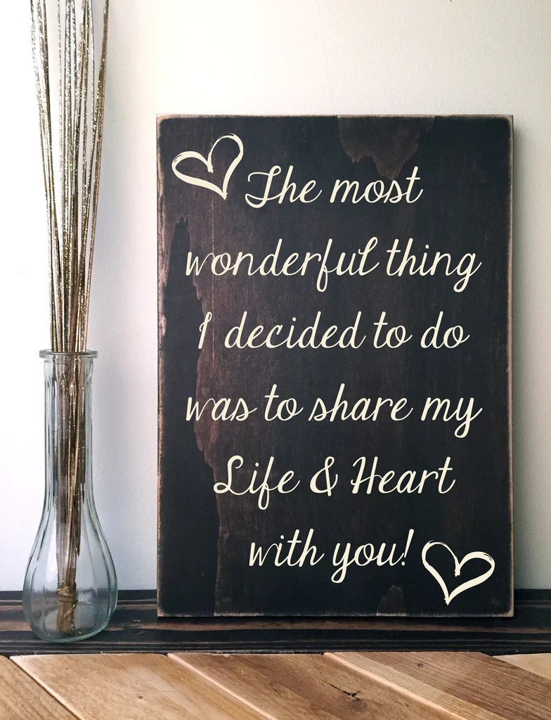 Custom Quote Sign Dark Brown Wood Sign With Love Quote Hand Painted Rustica Home Dcor By