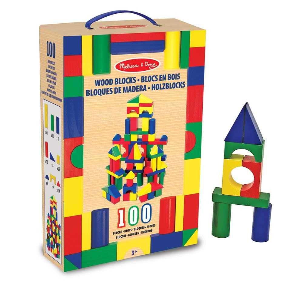 melissa doug set de 100 bloques de madera