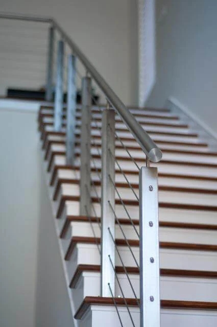 1 2 3 Tubular Stainless Steel Handrail E001 E4801 Stair   Tubular Design For Stairs   Stainless Steel   Fully Covered Balcony Grill   Fabrication   Simple   Industrial