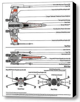Framed Star Wars XWing Fighter 9 X 11 inch Schematic