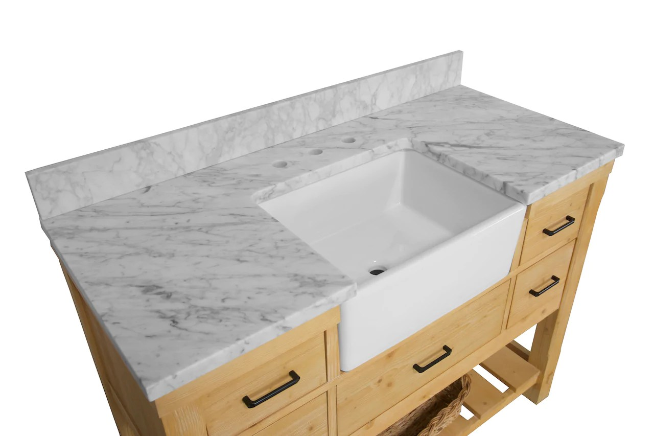charlotte 48 inch farmhouse vanity with carrara marble top