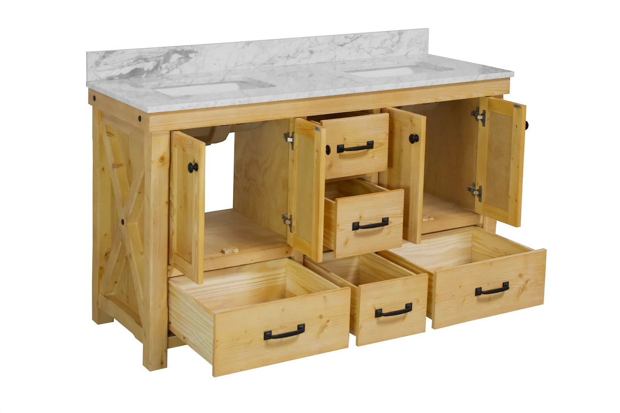 tuscany 60 inch double vanity with carrara marble top