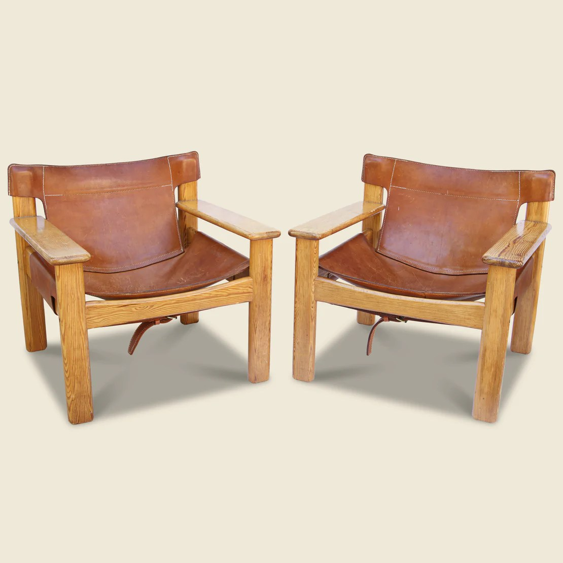 Leather And Wood Chair Danish Leather Pine Lounge Chairs