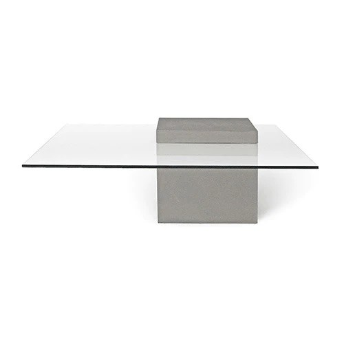 concrete verveine coffee table square with glass top