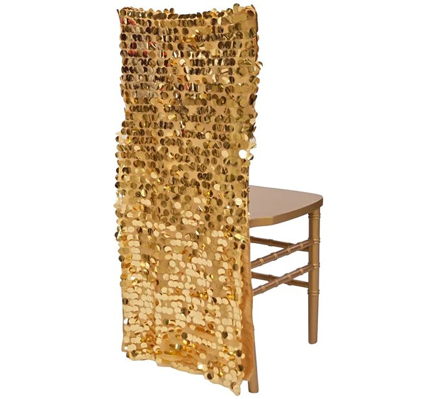 spandex chair covers banquet swivel base parts chivari payette sequins back in gold - cover – urquid linen