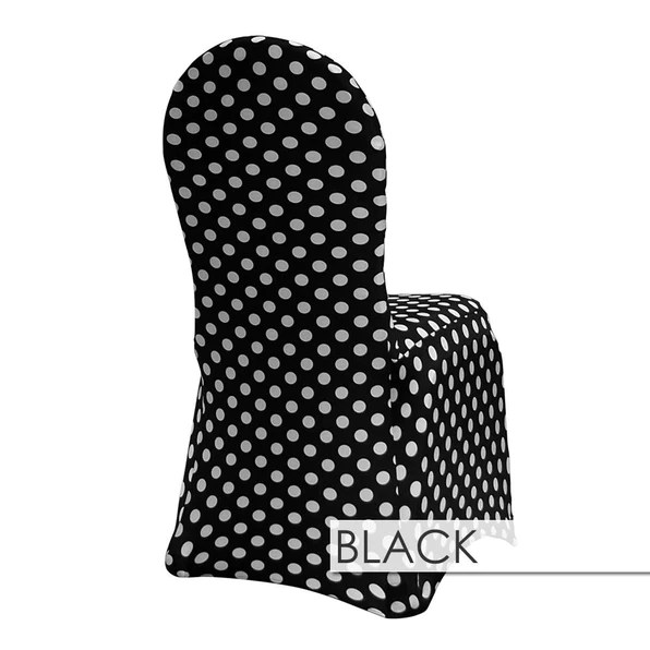 cheap black chair covers for sale stool spandex print urquid linen polka dot white on