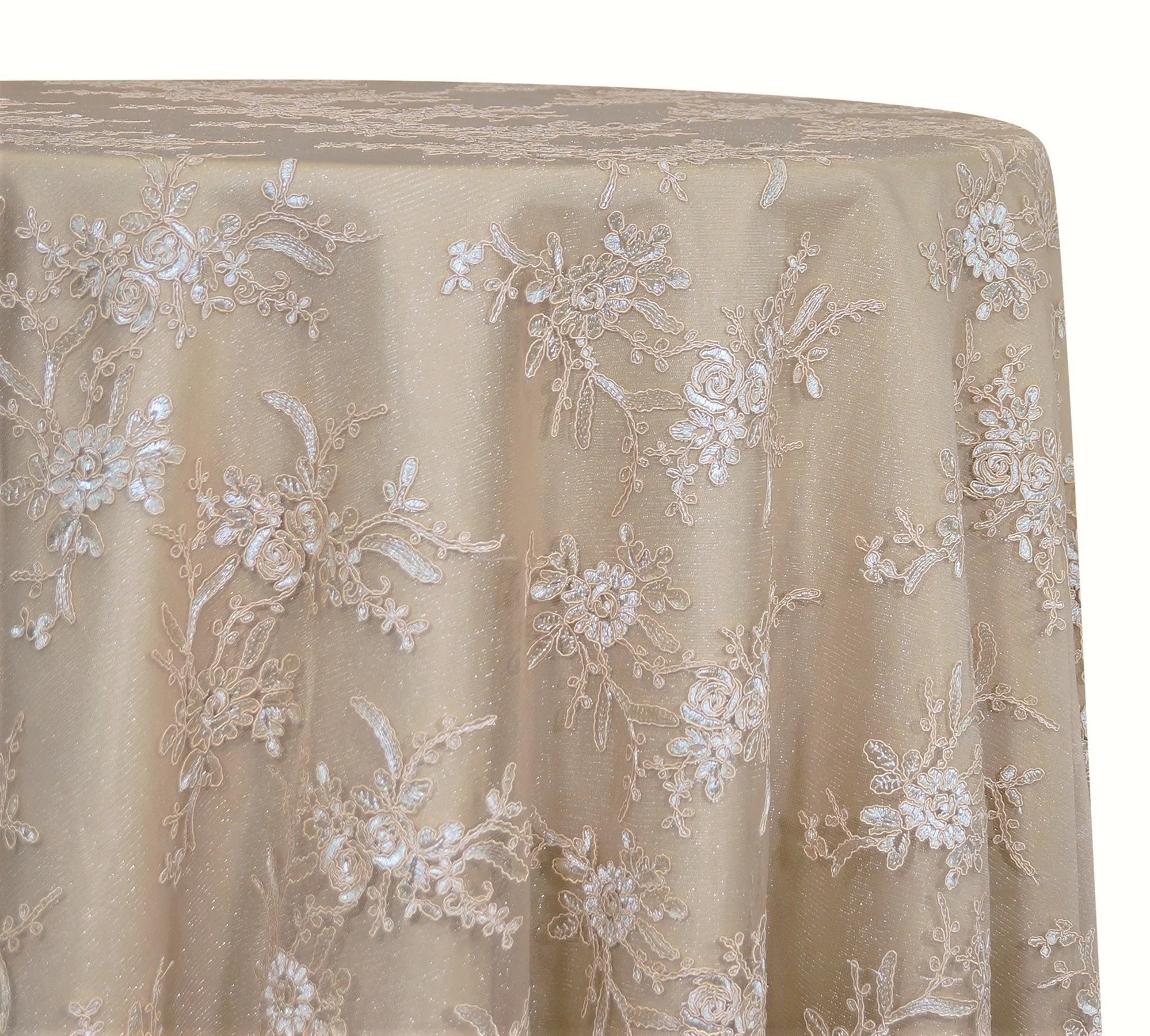 "Laylani Lace - Ivory 120"" Wedding Tablecloth"