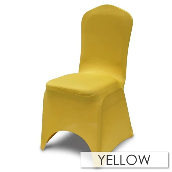 yellow chair covers toddler upholstered rocking canada economy quality spandex cover for banquet chairs urquid linen