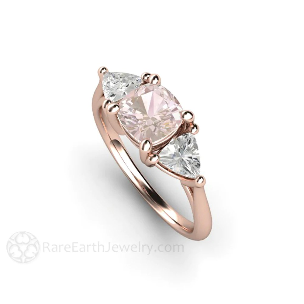 Cushion Baby Pink Sapphire Engagement Ring 3 Stone Rare