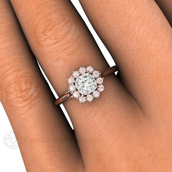 Cushion Cut Diamond Ring With Pink Diamond Halo GIA Rare