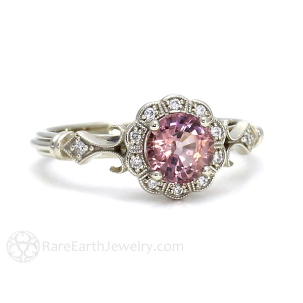 Art Deco Pink Spinel And Diamond Halo Ring Rare Earth