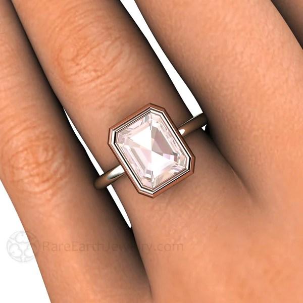 Two Tone Gold Emerald Cut Morganite Bezel Solitaire Ring