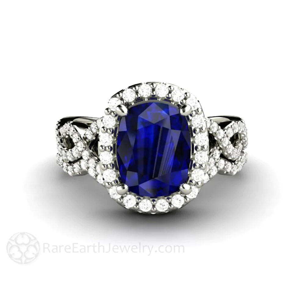 Blue Sapphire Engagement Ring Cushion Cut Infinity Halo  Rare Earth Jewelry