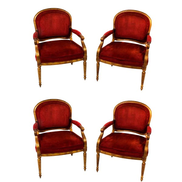 bergere dining chairs images of chair rail hollywood regency red velvet armchairs set 4